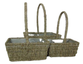 Set Of 3 Rectangle Seagrass Baskets