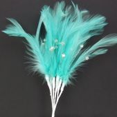 Diamonte Feathers Turquoise x 3 Bchs