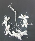 Pearl Diamante Butterfly White-Silver 6 Stems x 6