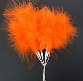 Fluff Feathers x 6 Stems x 6 Bunches Orange