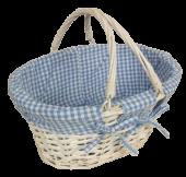 Shopper Oval White Wicker W-Blue Lining 30 x 20 x 14cm