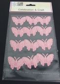 Self Adhesive Glittered Butterfly Pink x 12