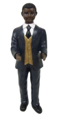 Resin Intchange Blk-African Groom 15cm