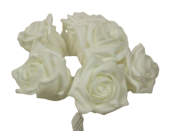Foam Colourfast Cottage Rose x 6 White-White