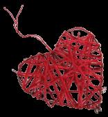Heart Rattan 10cm Red x 8pcs