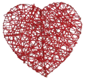 Heart Rattan 20cm Red x 4pcs