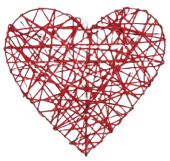 Heart Rattan 30cm Red