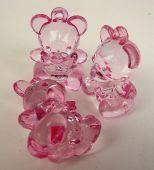 Acrylic Teddy Bear Pink 4.5cm x 6pcs