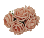 Foam Colourfast Cottage Rose x 6 Vintage Peach