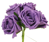Foam Cottage Rose x 6 Purple