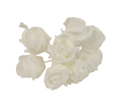 Colourfast Foam Rose Bud x 8 Heads App 3cm White-White