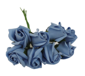 Colourfast Foam Rose Bud x 8 Heads App 3cm Lt Blue