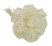 Colourfast Foam Rose Bud x 8 Heads App 3cm Ivory-Ivory