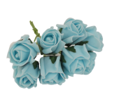 Colourfast Foam Rose Bud x 8 Heads App 3cm Aqua