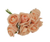 Colourfast Foam Rose Bud x 8 Heads App 3cm Peach