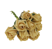 Colourfast Foam Rose Bud x 8 Heads App 3cm Gold