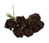 Colourfast Foam Rose Bud x 8 Heads App 3cm Brown