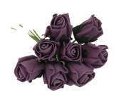 Colourfast Foam Rose Bud x 8 Heads App 3cm Lilac