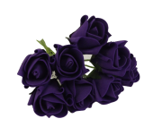 Colourfast Foam Rose Bud x 8 Heads App 3cm Purple