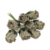 Colourfast Foam Rose Bud x 8 Heads App 3cm Silver
