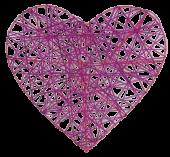 Heart Rattan 30cm Fuchsia