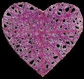Heart Rattan 20cm Fuchsia x 4pcs