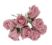 Colourfast Foam Rose Bud x 8 Heads App 3cm Vintage Pink