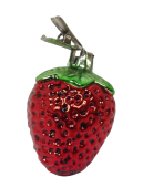 7cm Glass Strawberry Clip-Red