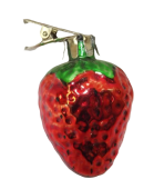 5cm Glass Strawberry Clip-Red