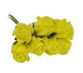 Colourfast Foam Rose Bud x 8 Heads App 3cm Lt Yellow