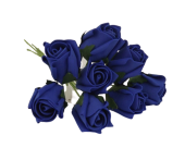 Colourfast Foam Rose Bud x 8 Heads App 3cm Royal