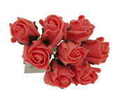 Colourfast Foam Rose Bud x 8 Heads App 3cm Coral