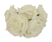 Large Colourfast Foam Rose App 8cm x 5 Heads Ivory