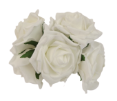 Large Colourfast Foam Rose App 8cm x 5 Heads White