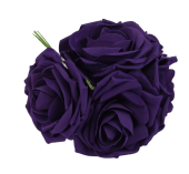 Large Colourfast Foam Rose App 8cm x 5 Heads Purple