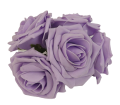 Large Colourfast Foam Rose App 8cm x 5 Heads Ice Lilac