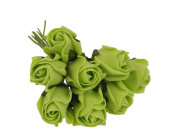 Colourfast Foam Rose Bud x 8 Heads App 3cm Lime