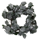 50cm Glittered Holly Wreath Green
