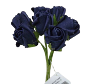Colourfast Foam Rose Bud x 8 Heads App 3cm Navy