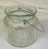 Large Ribbed Clear Glass Jar W/Handle 11 x 10.5cm