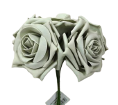 Large Colourfast Foam Rose App 8cm x 5 Heads Silver
