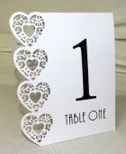 Table Numbers 1-15 Laser Heart White