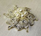Silver Brooch W/Pearls & Diamante 60mm