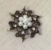 Vintage Silver Brooch W/Pearls & Diamante 60mm