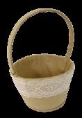 Linen Round Basket W/Lace