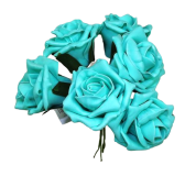 Foam Colourfast Cottage Rose x 6 Tiffany Blue