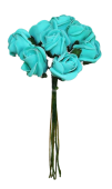Colourfast Foam Rose Bud x 8 Heads App 3cm Tiffany Blue