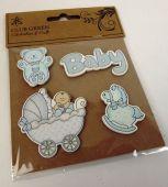 """Wooden Sticker """"Baby Boy Set"""""""