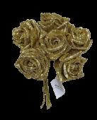 Glitter Rose x 6 (Heads App 6cm) Gold