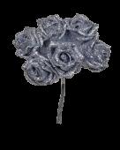 Glitter Rose x 6 (Heads App 6cm) Silver